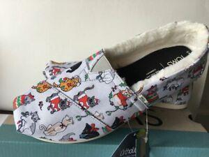 NEW Tom's Alpargata Holiday Cats Print Shoes Size 7.5