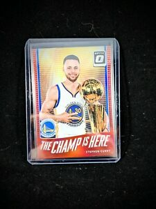 Stephen Curry 2017-18 Donruss Optic Champ is Here Red /99 Prizm Holo Warriors