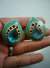 Runway statement VTG. YSL Yves saint Laurent blue glass gold tone clip earrings