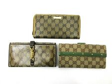 Authentic 3 Item Set GUCCI Long Wallet Leather Canvas 84777