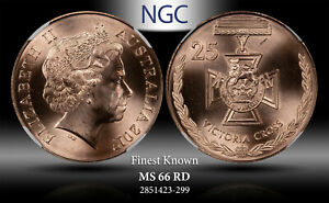 2017 AUSTRALIA 25 CENTS VICTORIA CROSS NGC MS66 RD #C FINEST KNOWN