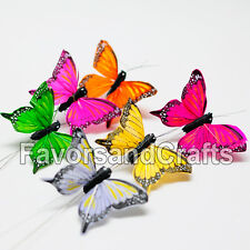 12 Realistic Feather Butterflies Crafts Wedding Monarch Decoration Wholesale 3D