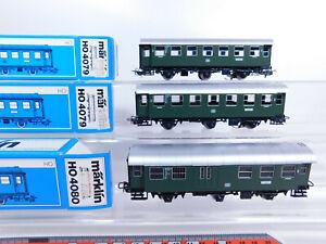 CQ767-0,5# 3x Märklin H0/AC Personenwagen DB Licht (7074): 4079 + 4080, s.g.+OVP