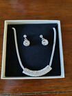 Silver Necklace and drop earings with Crystal Diamante