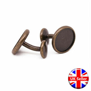 Premium Antique Bronze Cufflink Setting Blanks Fits 16mm Cabochon