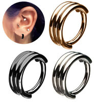 TRIPLE STACK STEEL HINGED SEGMENT RING HOOP NOSE/LIP/EAR/SEPTUM PIERCING 16G