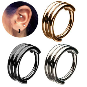 16G Triple Stack Hoop Steel Septum Round Clicker Nose Ear Hinged Tragus Ring