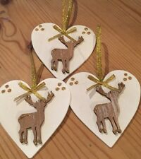 3 X Christmas Decorations Reindeer Shabby Chic Rustic Real Wood Heart Gold Bows