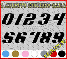 ADESIVO 12 cm NUMERO gara CORSA MOTO GP CROSS Stickers VINILE RACING TUNING F6