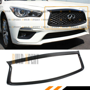 FOR:2018-2021 INFINITI Q50 CARBON FIBER FRONT GRILL OUTLINE TRIM COVER OVERLAY