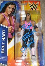 BRET HITMAN HART SIGNED BASIC FIGURE WWE NICE! WWF MINT!