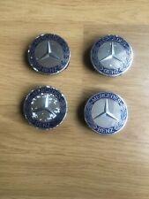 4 X GENUINE Mercedes Benz Blue Silver Wheel Centre Caps 75mm OEM A1714000025