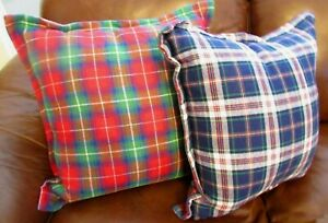 """Ralph Lauren Reversible Double Sided Plaid 22"""" Feather Throw Pillows Pair NWT"""