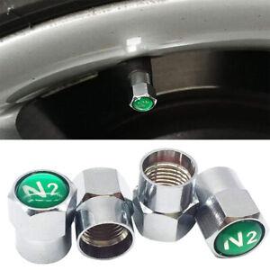 4X Nitrogen N2 Auto Car Valve Stem Cap/Caps Wheel Tire Chrome Sliver Universal P