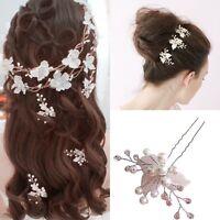 2 tlk Hochzeit Braut Haarschmuck Haargesteck Spange Blume Perle-Kristall Strass