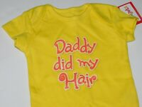 Infant Outfit Daddy Girl 0 3 6 9 Month Yellow Clothes DADDY DID MY HAIR Creeper