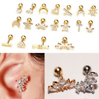 Fashion Cartilage Stud Earring Heart Cross Pattern Piercing Tragus Girls Jewelry
