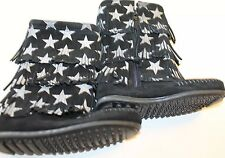 New Minnetonka Black Winter Boots Kid Girl Fringe Star 100% Leather 10 Zipper