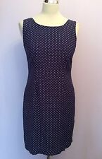 JIGSAW NAVY BLUE & WHITE SPOT DRESS SIZE 1 UK 8/10