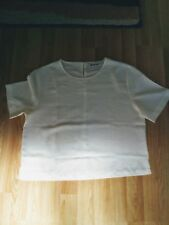 Cream short-sleeved scoop neck top/blouse, size 10