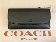 NWT COACH Pebbled Black Leather Checkbook Wallet Clutch F56488