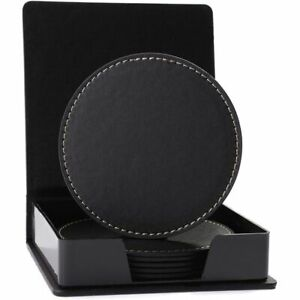 "6pcs Black PU Leather 3.6"" Round Drink Coasters Coffee Cup Mat Pad with Holder"