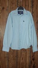ABERCROMBIE  BOY'S SIZE M BLUE/GREEN/WHITE STRIPED BUTTON UP LS SHIRT EUC