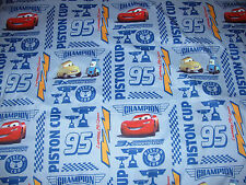 * DISNEY PIXAR CARS Lightning McQueenTwin FLAT bed sheet Piston Cup 3X Champion