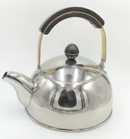 Vintage Stainless Steele With Wood & Brass Accent Tea Or Coffee Kettle 3 Qt