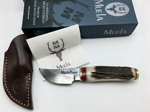 Muela of Spain DAMASCUS Knife in Display Box, DEER ANTLER Handle, Leather Sheath