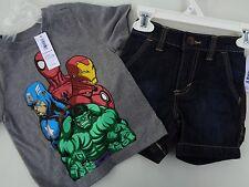New! Lot 2 Old Navy T-shirt Spider-Man Captain America Hulk Boys Sz 12 - 18 M