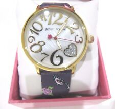 Betsey Johnson Floral Rose Sun Glasses Leather Purple Band Watch BJ00496-57 $69