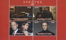 James Bond 007 Daniel Craig Spectre Tchad 2015 Gomma integra, non linguellato FRANCOBOLLO SHEETLET