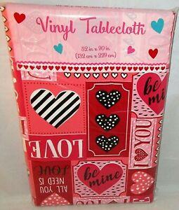 "VALENTINE'S DAY VINYL TABLECLOTH 52"" X 90"" VALENTINE SAYINGS"