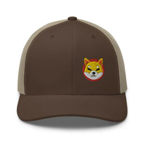 Shiba Inu Hat Crypto SHIB Meme Coin Meme Embroidered Trucker Cap