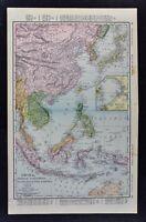 1898 McNally Map China French Indo-China Siam Malaysia Korea Philippines Japan