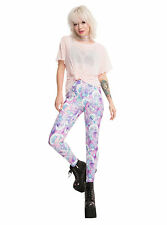 Licensed Care Bears Holographic Leggings Galaxy Moon Stars Print Yoga Pants S-M