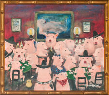 Piglets' Saloon Original Oil on Canvas by Billy Livingston