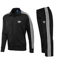ADIDAS MENS FIREBIRD FULL TRACKSUIT TOP AND BOTTOMS BLACK/WHITE - SIZES (S-M-L-X
