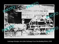 OLD POSTCARD SIZE PHOTO OF LaGRANGE GEORGIA THE COCA COLA BOTTLING WORKS c1915