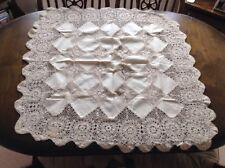 """Mantel Crochet Crema Algodón 30"""" Plaza Excelente Estado"""