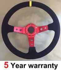 RED CORSICA SUEDE  DRIFT DEEP DISH STEERING WHEEL FIT OMP SPARCO MOMO BOSS KITS