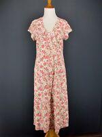 SAHALIE Dress M Pink Floral Empire COOLA Knit Cotton