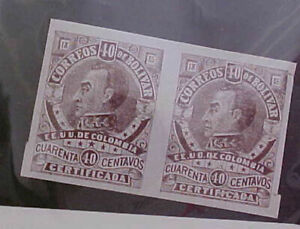 COLOMBIA  LOCAL POST  BOLIVAR #F8 PAIR  MINT LIGHT HINGED