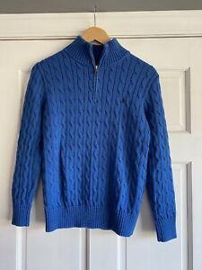 G67 Polo Ralph Lauren Long Sleeve 1/4 Zip Blue Sweater Boys Size Large 14-16