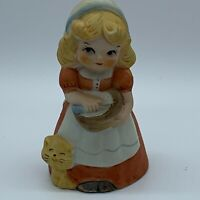 Vintage Porcelain Collectible Jasco Bell Baking Girl with Kitty