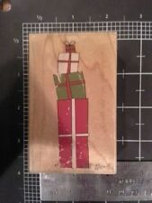 Presents wood mounted Rubber stamp - may be discolored damaged