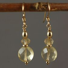 14k Gold Filled Natural Citrine Faceted Small Dange Earrings