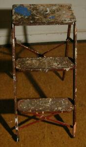 Vintage Retro Mid Century Folding 2 Step Stool Ladder metal Painter Special