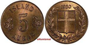 Iceland Bronze 1960 5 Aurar SCARCE IN HIGH GRADE ch.UNC Toning KM# 9